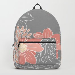 Festive, Floral Prints and Line Art, Gray and Coral Backpack
