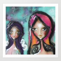 angels Art Prints featuring angels by SannArt
