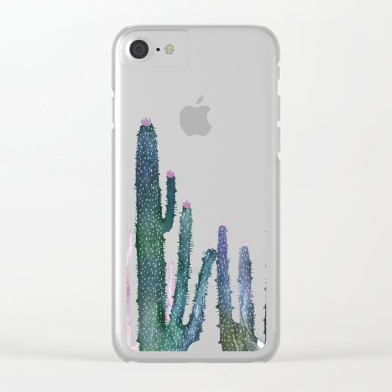 cactus water color cut Clear iPhone Case