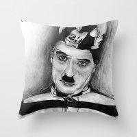 chaplin Throw Pillows featuring Chaplin by D.E.Pérez