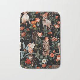 Cat and Floral Pattern II Bath Mat