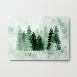 Pine Forest Watercolor Metal Print