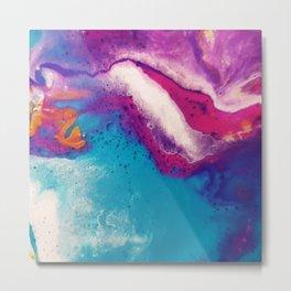 Abstract Acrylic Paint Pattern Texture #2 - Blue, Purple, Orange Metal Print