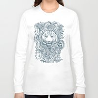 leaf Long Sleeve T-shirts featuring Tiger Tangle by micklyn