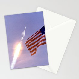Nasa Picture 3: Apollo 11 Launcher and the flag of the USA Stationery Cards