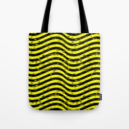 Wiggly Yellow and Black Speckle Pattern Tote Bag