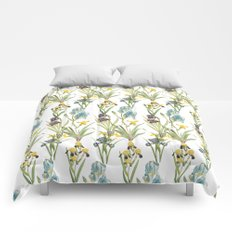 Vintage Floral Pattern | No. 2B | Iris Flowers | Irises Comforters