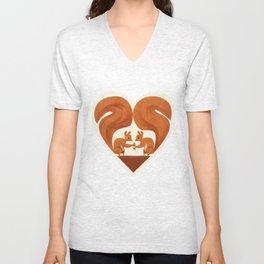 Love Heart Squirrels Unisex V-Neck