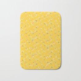 Polka Dots Stamps on Vivid Yellow Bath Mat
