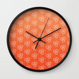 Orange Swirls - repeating digital pattern Wall Clock