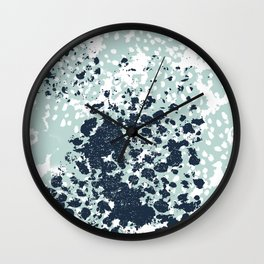 Izzie - abstract painting navy mint white trendy color palette summer bright decor Wall Clock