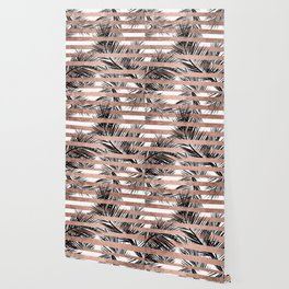 Trendy tropical palm trees chic rose gold stripes Wallpaper