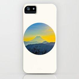 Mid Century Modern Round Circle Photo Yellow Blue Mount Fuji Sunset Watercolor Effect Landscape iPhone Case
