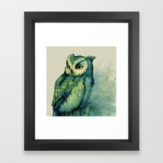 Green Owl Framed Art Print