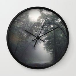 Foggy Forest Drive Wall Clock