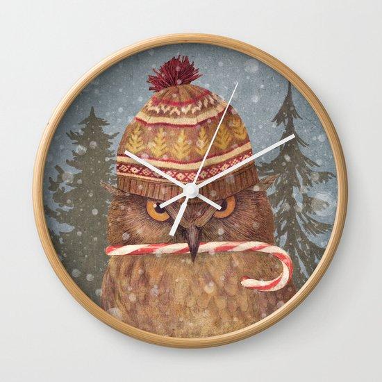 Christmas Owl  Wall Clock