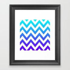 PURPLE & TEAL CHEVRON FADE Framed Art Print