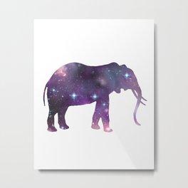 Elephant Spirit Animal - Galaxy Elephant Silhouette Metal Print