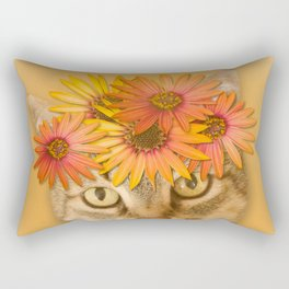 Tabby Cat with Daisy Flower Crown, Mustard Yellow Background Rectangular Pillow