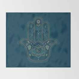 Hamsa Hand in Blue and Gold Throw Blanket