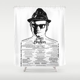 Jake Blues Brothers tattooed 'Four Fried Chickens' Shower Curtain