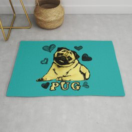 Adorable Puppy Pug on teal with hearts Rug