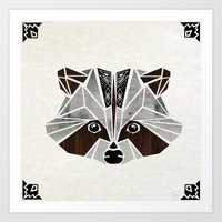 raccoon Art Prints featuring raccoon! by Manoou