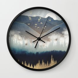 Blue Mountain Mist Wall Clock