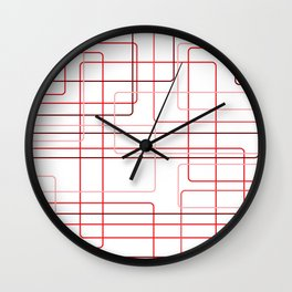 Red Cube Pattern Wall Clock