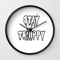 trippy Wall Clocks featuring Trippy by Top Head Culture