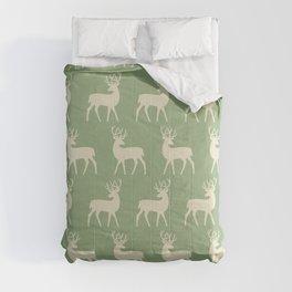 Mid Century Modern Deer Pattern Sage and Tan Comforters