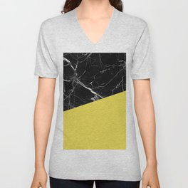 Black Marble and Meadowlark Yellow Color Unisex V-Neck
