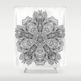 B&W Indian Mandala Shower Curtain