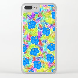 Hawaiian Blue Flowers Clear iPhone Case