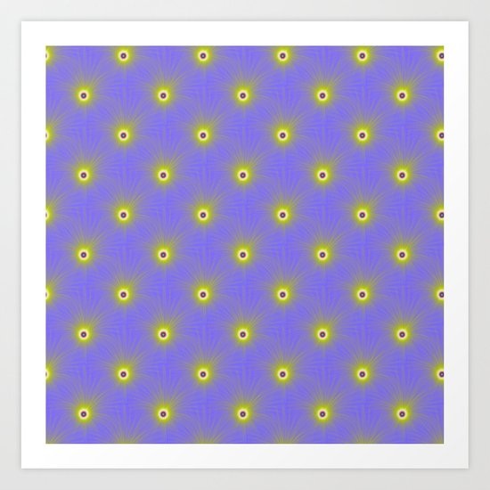 Color Explosion in Yellow and Blue Tiled Art Print