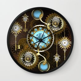 Rusty Background with Turquoise Lenses Wall Clock