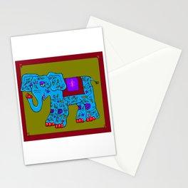 Blue Elephant with Pink Fleur de Lis Stationery Cards