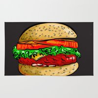 burger Area & Throw Rugs featuring Burger by YusufSangdes