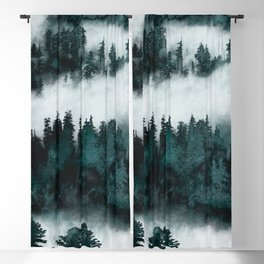Foggy Forest Fun - Turquoise Mountains Blackout Curtain