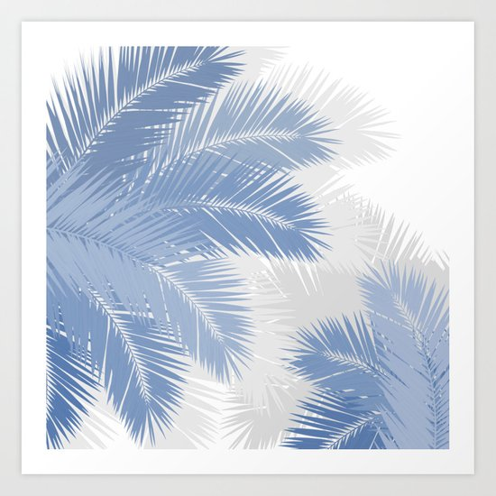 BLUE TROPICAL PALM TREES Art Print