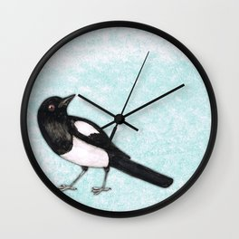 Magpie ink drawing Wall Clock