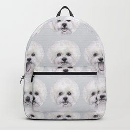 Bichon illustration, Dog illustration original painting print Backpack