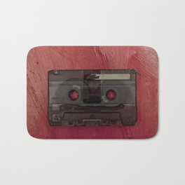 Cassette tape music vintage red Bath Mat