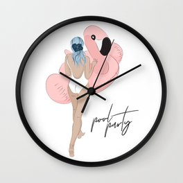 Pool party flamingo Wall Clock