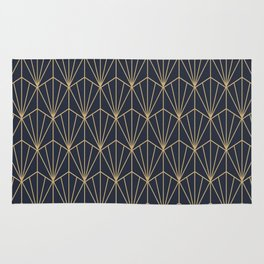 Art Deco Vector in Blue and Gold Rug