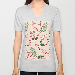 Peppermint Winter Holiday Candy Cane  Unisex V-Neck