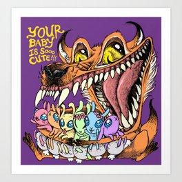 FOX LOVES CUTE BABIES Art Print