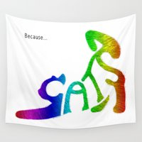 because cats Wall Tapestries featuring Because... Cats by J ō v