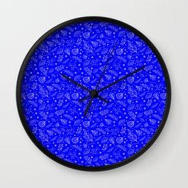 Blue Leaf Pattern Wall Clock