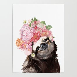 Sloth with Flowers Crown in White Poster
